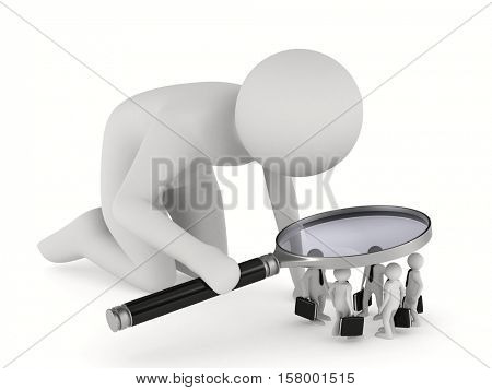 personnel selection on white background. Isolated 3D image