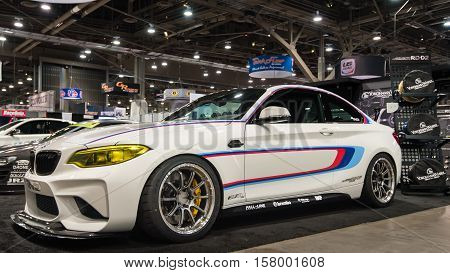 LAS VEGAS NV/USA - OCTOBER 31 2016: Customized BMW M2 car at the Specialty Equipment Market Association (SEMA) 50th Anniversary auto trade show. Sponsor: Eisenmenn