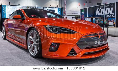 LAS VEGAS NV/USA - OCTOBER 31 2016: Customized Tesla Model S car at the Specialty Equipment Market Association (SEMA) 50th Anniversary auto trade show. Booth: Blackvue Sponsor: Unplugged Performance