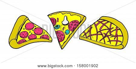 Set of various types of pizza and pizza ingredients, sketch style vector illustration isolated on white background. Basic ingredients and slices of freshly baked mozzarella mushroom vegetarian