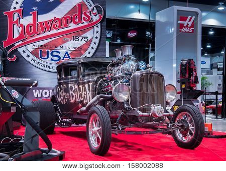 LAS VEGAS NV/USA - OCTOBER 31 2016: Customized Ford Model A at the Specialty Equipment Market Association (SEMA) 50th Anniversary auto trade show. Name: Quit Your Bitchin II Builder: Welderup Booth: Edwards Ironworkers
