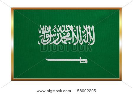 Saudi Arabian national official flag. Patriotic symbol banner element background. Correct colors. Flag of Saudi Arabia golden frame fabric texture illustration. Accurate size color