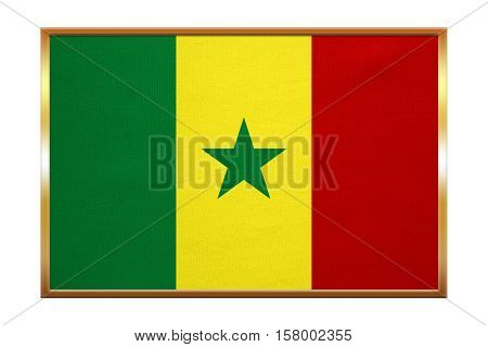 Senegalese national official flag. African patriotic symbol banner element background. Correct colors. Flag of Senegal golden frame fabric texture illustration. Accurate size color