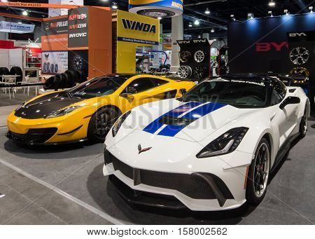 LAS VEGAS NV/USA - OCTOBER 31 2016: Two customized Chevrolet Corvette cars at the Specialty Equipment Market Association (SEMA) 50th Anniversary auto trade show. Booth: BYW