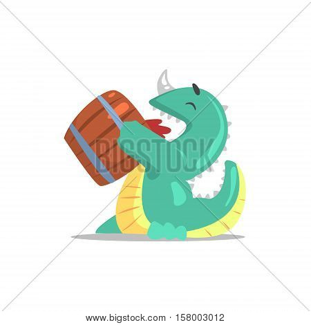 Green Dragon-Like Monster Drinking Beer From The Barrel Partying Hard As A Guest At Glamorous Posh Party Vector Illustration Part Of The Funny Alien Animal Cartoon Characters At The Celebration Collection.