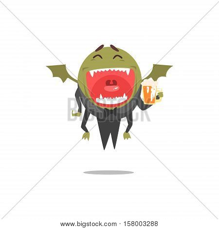 Winged Green Monster Wearing Tails Laughing And Drinking Beer Partying Hard As A Guest At Glamorous Posh Party Vector Illustration Part Of The Funny Alien Animal Cartoon Characters At The Celebration Collection.