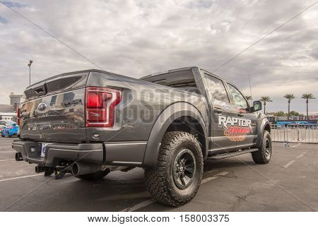 LAS VEGAS NV/USA - NOVEMBER 1 2016: Ford F-150 Assault Raptor truck at the Specialty Equipment Market Association (SEMA) 50th Anniversary auto trade show. Booth: Ford Performance