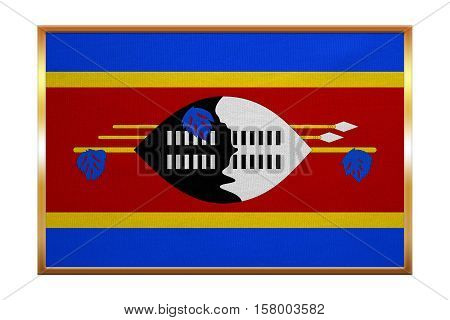 Swazi national official flag. African patriotic symbol banner element background. Correct colors. Flag of Swaziland golden frame fabric texture illustration. Accurate size color
