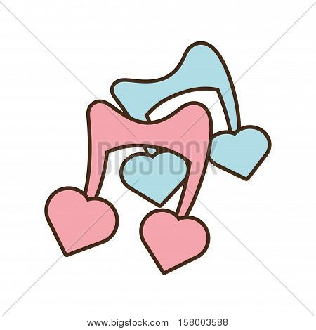 two musical note blue and pink with heart vector illustration eps 10