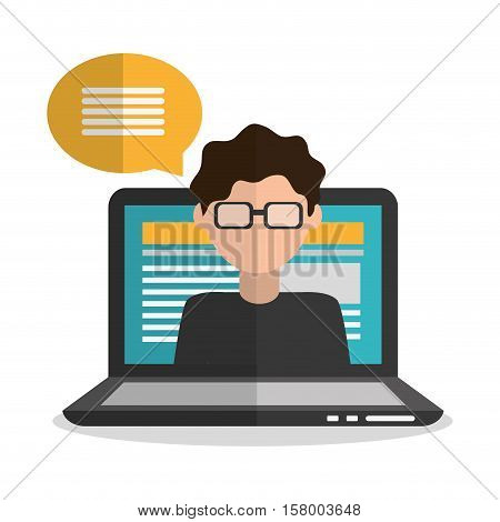 Laptop and boy blogger icon. Blog network multimedia technology social media and communication theme. Vector illustration