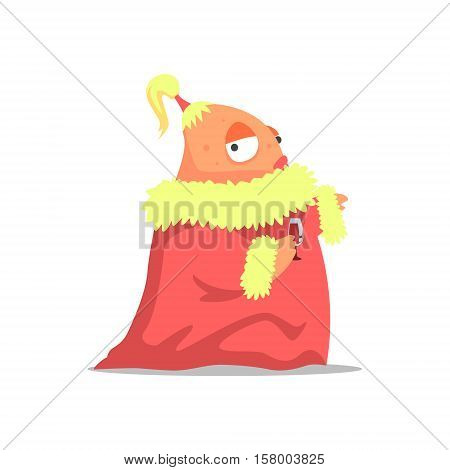 Female Monster In Red Mantle With A Ponytail Partying Hard As A Guest At Glamorous Posh Party Vector Illustration. Part Of The Funny Alien Animal Cartoon Characters At The Celebration Collection.