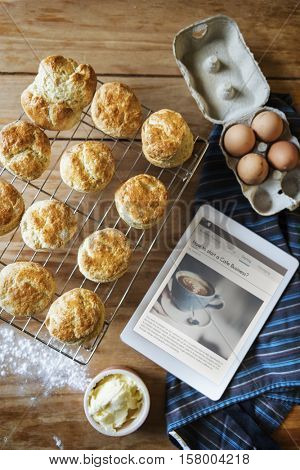 Baked Scone Pastry Eggs Digital Tablet Concept