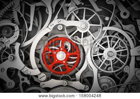 Mechanism, clockwork with one different, red cogwheel. Close-up, detailed. 3D rendering