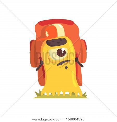 Yellow Blob Monster With Goatee And Moustache With A Backpack, Alien Camping And Hiking Cartoon Illustration. Fantastic Animal On A Hike Outdoors In The Wilderness Vector Cute Character.