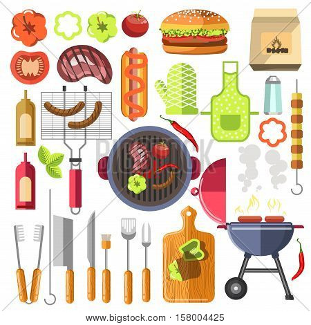 Barbecue design elements grill summer food. Vector set of barbecue and bbq grill elements outdoors cookout meat steak food.