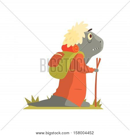 Grey Lizzard Monster With Backpack And Walking Stick, Alien Camping And Hiking Cartoon Illustration. Fantastic Animal On A Hike Outdoors In The Wilderness Vector Cute Character.