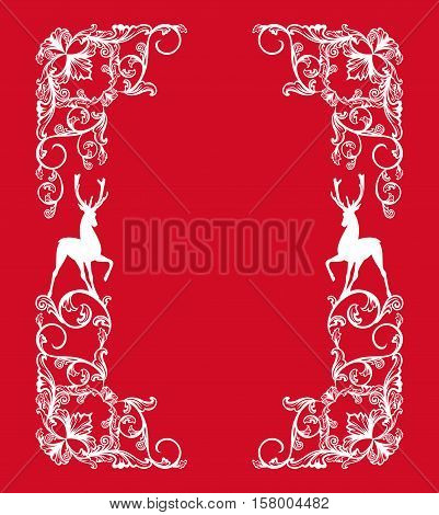 christmas theme vector design element - white frame with deer silhouettes
