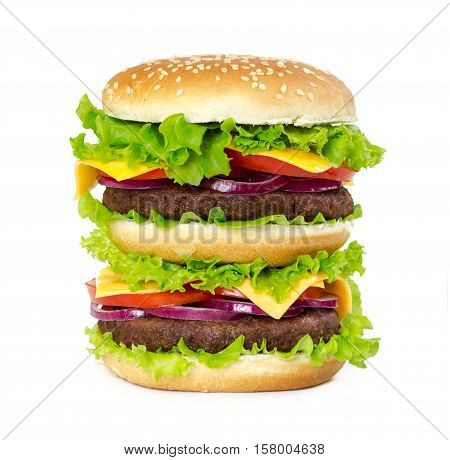 Double Burger With Cutlet, Onions, Cheese, Tomatoes And Salad Leaves