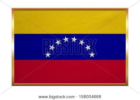 Venezuelan national official flag. Bolivarian Republic of Venezuela patriotic symbol banner element background. Correct colors. Flag of Venezuela golden frame textured illustration. Accurate size