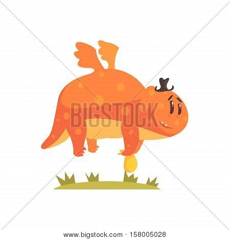 Chubby Orange Monster Flying Wearing A Hat, Alien Camping And Hiking Cartoon Illustration. Fantastic Animal On A Hike Outdoors In The Wilderness Vector Cute Character.