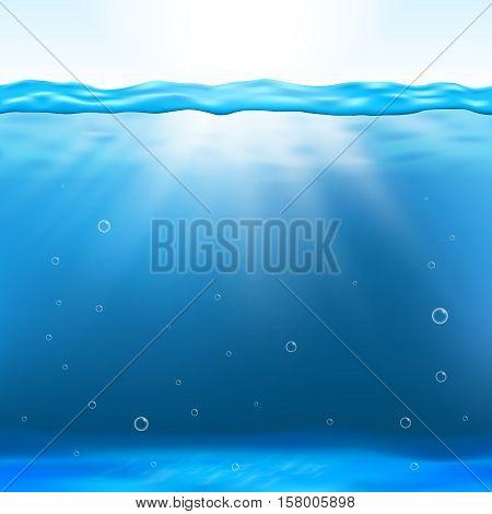 Underwater view vector illustration. Underwater clean background and deep underwater with sunbeam