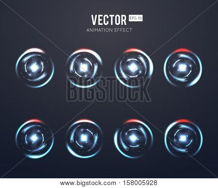 Realistic vector light effect rotating animation set for spinning loader or game load. Animation energy rotating and illustration dynamic energy