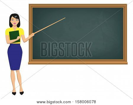 Vector illustration teacher woman with school pointer standing near blackboard. Girl educator with blank clean chalkboard. Beautiful female professor teaches a lesson. Isolated on white background.