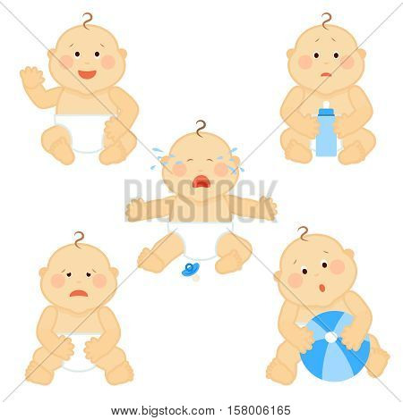 Crying vector baby toddler with milk bottle isolated on white background. Little baby boy sad and surprised, illustration of cute baby in diaper with ball