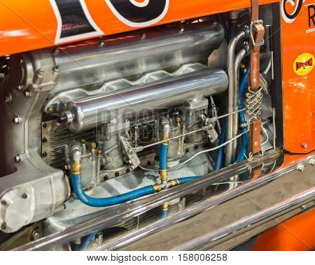 LAS VEGAS NV/USA - NOVEMBER 2 2016: Close up of a Wetteroth Schoof Offenhauser (Offy) Special engine at the Specialty Equipment Market Association (SEMA) 50th Anniversary auto trade show.