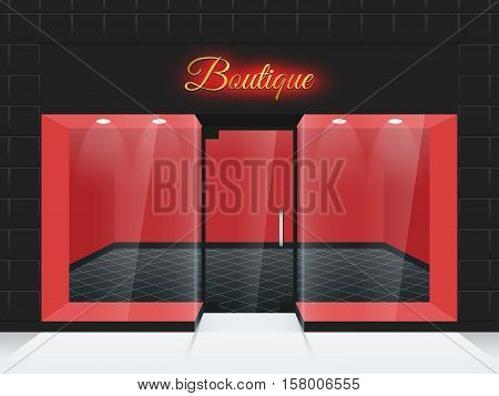 Empty shop front or boutique windows and door vector illustration. Fashion boutique with glass facade, front frame boutique