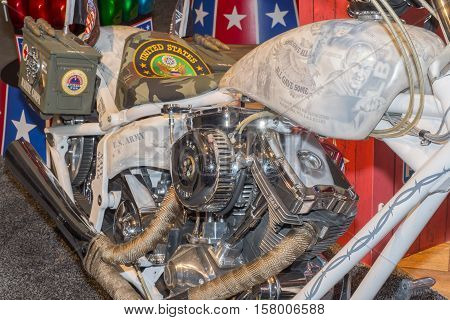 LAS VEGAS NV/USA - NOVEMBER 2 2016: Vietnam tribute motorcycle with presidents Nixon and Johnson at the Specialty Equipment Market Association (SEMA) 50th Anniversary auto trade show. Name: All Gave Some; Some Gave All