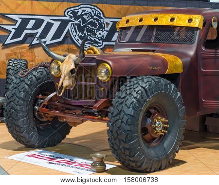 LAS VEGAS NV/USA - NOVEMBER 2 2016: Western theme 1948 Willys pickup truck at the Specialty Equipment Market Association (SEMA) 50th Anniversary auto trade show. Name: Hauk .45 Builder: Hauk Designs Booth: Pitbull Tires