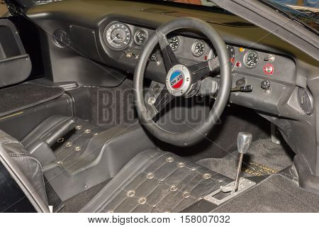 LAS VEGAS NV/USA - NOVEMBER 2 2016: 1960s Ford GT40 racecar right hand drive interior and dashboard at the Specialty Equipment Market Association (SEMA) 50th Anniversary auto trade show.