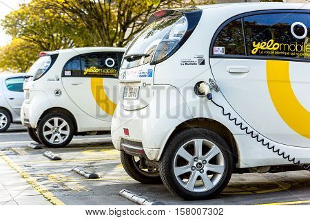 La Rochelle, France - April 19, 2016: Free Recharging Station Of Yelow Mobile Electric Car