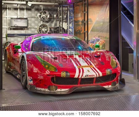LAS VEGAS NV/USA - NOVEMBER 3 2016: Ferrari 488 GT3 racecar at the Specialty Equipment Market Association (SEMA) 50th Anniversary auto trade show. Drivers: Alessandro Balzan Christina Nielsen Team: Scuderia Corsa