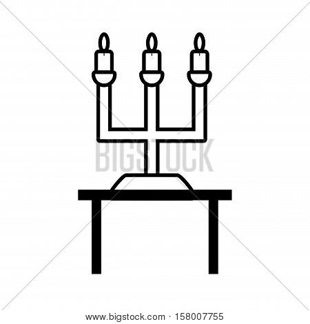 pictogram chandelier candles decorative on table wedding design vector illustration eps 10