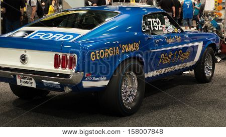 LAS VEGAS NV/USA - NOVEMBER 4 2016: A 1969 Ford Mustang 428 Cobra Jet racecar at the Specialty Equipment Market Association (SEMA) 50th Anniversary auto trade show. Driver: Hubert Platt Builder: Holman & Moody Booth: Scott Drake