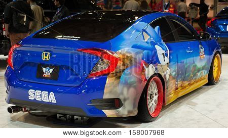 LAS VEGAS NV/USA - NOVEMBER 4 2016: Customized Honda Civic car at the Specialty Equipment Market Association (SEMA) 50th Anniversary auto trade show. Name: Sega Sonic the Hedgehog 25th Anniversary Builder: Fox Marketing Cars