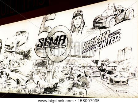 LAS VEGAS NV/USA - NOVEMBER 4 2016: Specialty Equipment Market Association (SEMA) Show Battle of the Builders and Ignited 50th Anniversary artwork. Artist: Ed Tillrock