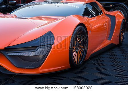 LAS VEGAS NV/USA - NOVEMBER 4 2016: Trion Nemesis car at the Specialty Equipment Market Association (SEMA) 50th Anniversary auto trade show. Builder: N2A Motors