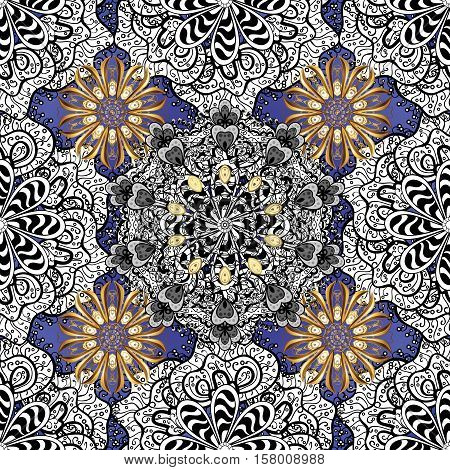 Blue and lilac background. White and golden mandalas element. Vector.
