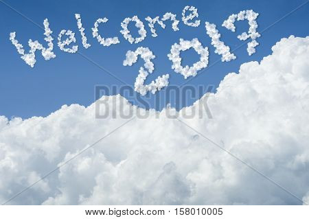 Beautiful Blue Sky And White Cloud. Sunny Day.cloudscape.close Up The Cloud.text Welcome 2017.end Of