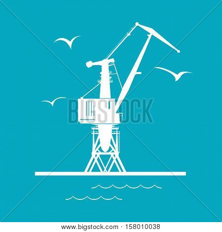 Marine Dockside Crane, Port Cargo Crane Isolated on Green Background, Vector Illustration