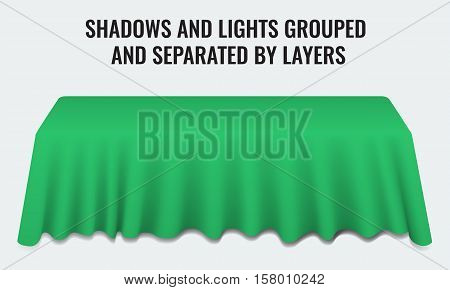 Empty dinner banquet table with green cloth 3d realistic desk vector illustration. Shadows and lights grouped by layers.