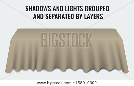 Empty dinner banquet table with cloth 3d realistic desk vector illustration. Shadows and lights grouped by layers.