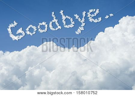 Beautiful Blue Sky And White Cloud. Sunny Day.cloudscape.close Up The Cloud.text Goodbye.