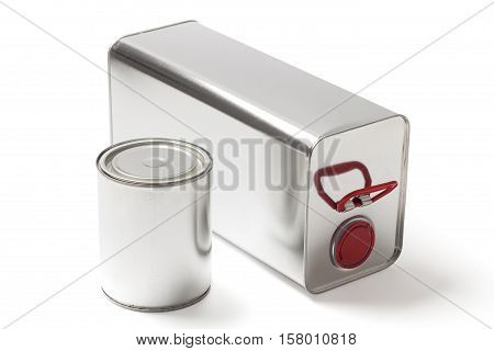 Two different tin cans for paint and chemical products on white with clipping path.