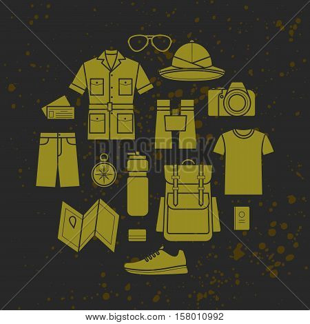 Vector icons set of safari planning a summer vacation tourism and journey objects and passenger luggage. Safari clothes
