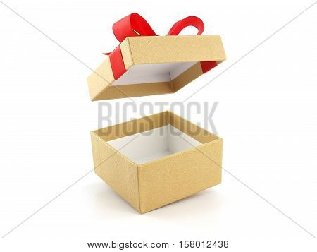 open and empty golden gift box with red ribbon bow isolated on white background