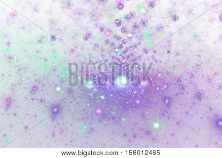 Bright Splash. Abstract Colorful Blue, Pink And Purple Drops On White Background. Fantasy Fractal Te